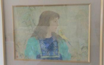 日本画 倉島重友「小鳥」