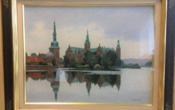 油絵 横田善夫「水辺のフレデリックボーグ城」